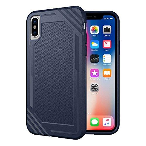 HHF Cases & Covers Für iPhone X Gitter Textur TPU Shockproof Schutzhülle zurück Fall (Color : Blue) -