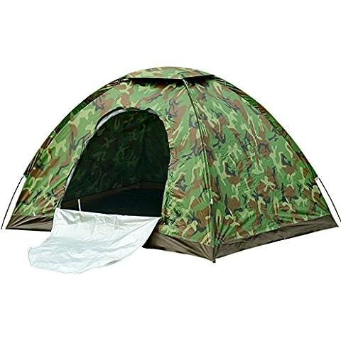 3-4 persona acampar al aire libre juego de la lluvia carpa simple o doble automático de la playa tienda de campaña y equipos ( Color : Camuflaje