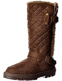 4e321956bf5a Ella Women s Wide Calf Quilted Biker Fur Lined Flat Winter Snug Boot -  Chestnut Brown