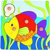 Goki - Puzzle encaje con pez, 5 piezas, de madera (Gollnest & Kiesel 57554.0)
