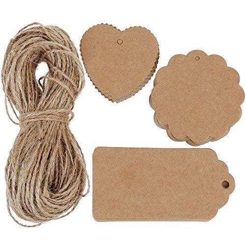 Vanserun 120 pezzi tag regalo, targhette carta kraft , etichetta vuoto mestiere carta tag, corda di canapa da 30m, utilizzato per matrimoni, compleanni e natale