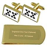Spaten Playing Card Nummer 10 Gold-Manschettenknöpfe Geldscheinklammer Gravur Geschenkset