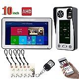 Videocitofono Wired Wifi da 10 pollici, porta IC con impronte digitali Accesso alla porta Sistema di sicurezza per visione notturna Videocamera HD, Interfono APP remoto, Sblocco,SetA