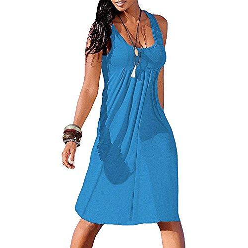 Damen Print Sling Minirock Kleid YunYoud Ärmelloses Retro Mini Strandkleid sommer kurz strand kleid jumpsuit elegant kleid für damen, Blau 2, XL