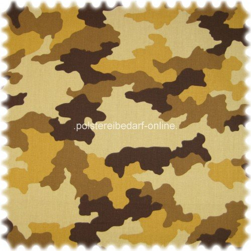 polstereibedarf-online AKTION Möbelstoff Aktueller Camouflage braun Farbdruck aus 100% Baumwolle (Möbelstoff Camouflage)