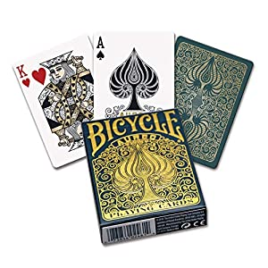 Fournier- Bicycle Aureo Leonardo da Vinci Baraja de Cartas de Poker Premium de Colección, Color Dorado (1042051)
