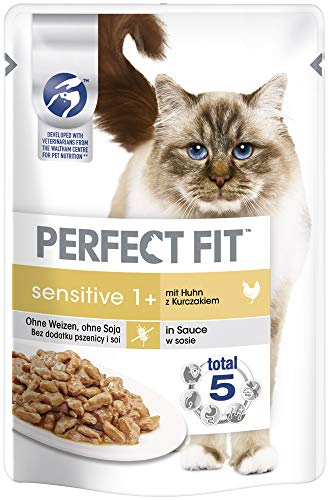 Perfect Fit Katzenfutter Nassfutter Sensitive Adult 1+ mit Huhn in Sauce, 12 Portionsbeutel (12 x 85g)