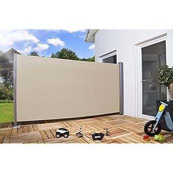 seitenmarkise 300x160cm grau aluminium windschutz sichtschutz seitenzugmarkise. Black Bedroom Furniture Sets. Home Design Ideas