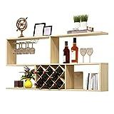 FEIFEI Mur monté en bois porte-bouteilles de vin casier à vin montage bar décoration murale armoire à vin moderne salon mur étagères à vin (Couleur : Light walnut color, taille : 100cm)