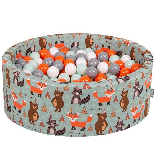 Kiddymoon 90x30cm/200 palline ∅ 7cm piscina di palline colorate per bambini tondo fabbricato in eu, volpe-verde: arancione/menta/grigio/bianco