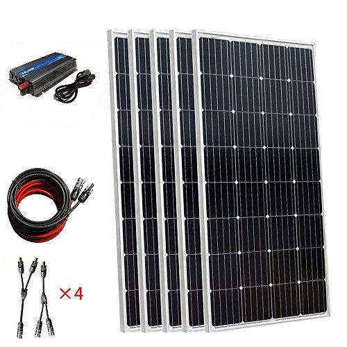 750W Solar Photovoltaik netzgekoppelter Power Generation System: 4PCS 18Volt 150W Mono Solarzellen + 12V auf 220V 1000W Grid Tie Inverter System für Netzteil in Haushalt