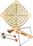Small foot 5036 Tir à l'arbalète en bois, avec cible et deux flèches, article de sport / jeu de tir, à partir de 5 ans