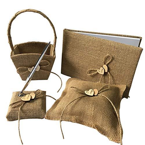 ng Sets mit Gast-Buch-Feder-Halter-Blumen-Korb-Ring-Kissen Rustic Brautpolterabend Zeremonie Jahrestag Burlap Farbe 1Set ()