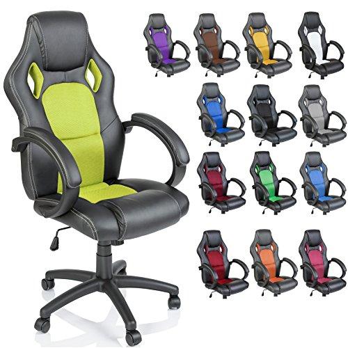 Racing Chefsessel Bürostuhl Drehstuhl 14 Farbvarianten, gepolsterte Armlehnen, Wippmechanik, Lift SGS geprüft (schwarz/hellgrün)