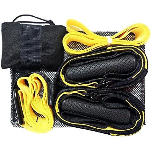 Suspension Trainer, SEVICAT® Suspension Training Workout cinghie corpo appeso Belt La tensione fune per la casa esercizio, Basic Kit per la palestra di casa (giallo e nero)