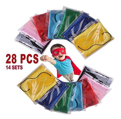 FAJ Kind Superheld Kostüm Cape und Maske Set Für Kinder-Geburtstags-Party DIY Kinder 28 Stück Kinder und Kleinkinder 28-Teiliges ()