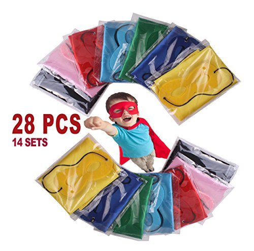 FAJ Kind Superheld Kostüm Cape und Maske Set -