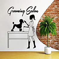 tzxdbh Dog Wall Decal Grooming Salon Wall Sticker Pet Shop Dog Wall Art Pet Grooming Salon Decoration Pets Shop Door Window Decor 31 * 42CM