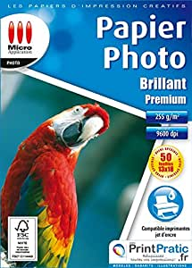 Micro application 5347 Premium Papier Photo Brillant 13 x 18 255 g/m² 50 feuilles