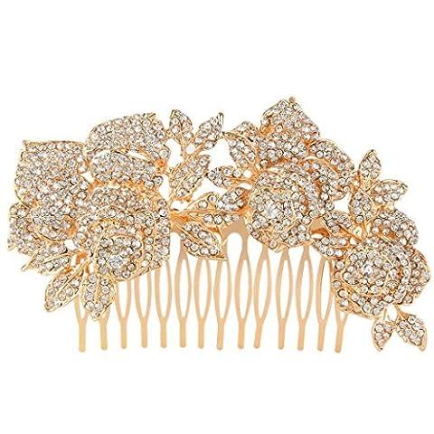 EVER FAITH® österreichischen Kristall Braut Rose Blume Haarkämme Rose-Gold-Ton klar A09521-4