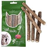 5x Katzenminze Sticks aus echtem Matatabi Holz als Katzenspielzeug zur Katzen Zahnpflege und gegen Mundgeruch der Katze, 5x Dental Stick Katzen Holz Kaustange von Pretty Kitty
