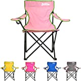 just be…® Folding Camping Chair – Light Pink with Green Trim