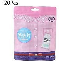 zhiwenCZW 20 pcs. Tabletas de lavandería Concentrado de Limpieza Perfume Natural Suavizante Ropa