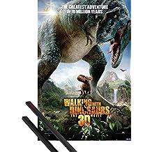 Póster + Soporte: Caminando Entre Dinosaurios Póster (91x61 cm) One Sheet Y 1 Lote De 2 Varillas Negras 1art1®