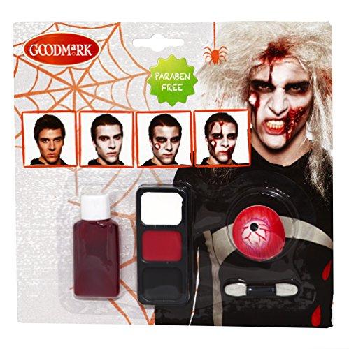 Zombie, 3er Pack (3 x 8 Stück) (Gesichts Make Up Kostüm Herren)
