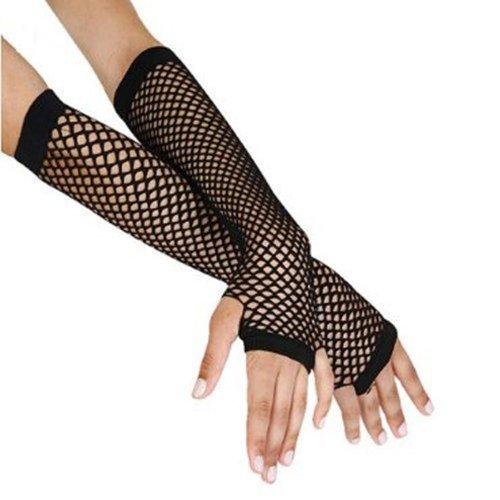 Long Black Fishnet Gloves for 80s Madonna Fancy Dress