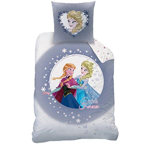 Disney frozen 042937 - set copripiumino singolo e federa sisters, in cotone, 135 x 200 + 80 x 80 cm