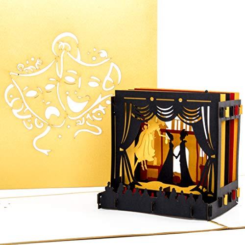 """Pop-Up Karte""""Theaterbühne"""" 3D Theater Geburtstagskarte, Einladungskarte & Theaterkarte in edlem Gold - zum Geburtstag als Geschenk, Geschenkgutschein, Einladung, Geschenkverpackung & Gutschein"""