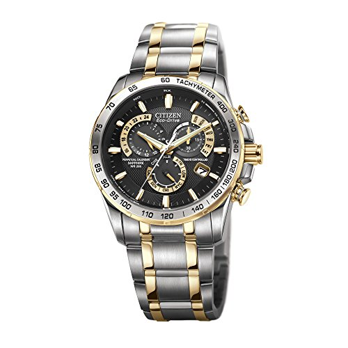 Citizen Men's Eco-Drive Chronograph Watch AT4004-52E with a Black Dial and a Two Tone Stainless Steel Bracelet