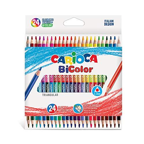 Carioca bi-color | 43031 - matite in legno triangolari, doppio colore, 24 pezzi