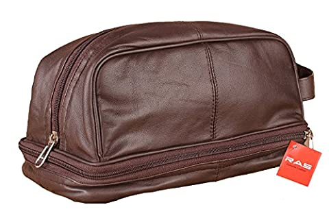 MEN'S GENUINE LEATHER TRAVEL OVERNIGHT WASH GYM TOILETRY BAG (BROWN) - 3530