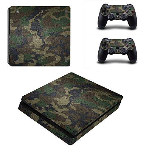 Morbuy PS4 Slim Skin Design Folie Aufkleber Sticker schützende Haut Schale für Sony Playstation 4 Slim Konsole und 2 Dualshock Controller (Green Camo) -
