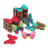 Demarkt 50X Botones de madera con doble-del orificio de las mariposas Flower(multicolor)