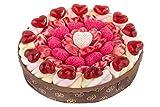 Eine handgefertigte Herztraumtorte ist ein leckeres Geschenk zum Jahrestag oder zur Hochzeit. Marshmallows, Kirsch-Joghurt-Herzen oder Frösche − die Torte besteht aus unterschiedliche Fruchtgummi-Sorten. 540g