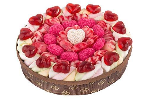 Eine handgefertigte Herztraumtorte ist ein Geschenk zum Jahrestag oder zur Hochzeit. Marshmallows, Kirsch-Joghurt-Herzen oder Frösche - die Torte besteht aus unterschiedliche Fruchtgummi-Sorten. 540g