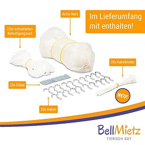 BellMietz Katzennetz für Balkon und Fenster | Extragroßes 8x3m Katzen-Schutznetz | Inkl. 25m Befestigungsseil | Balkonnetz mit Gratis Ebook - 2