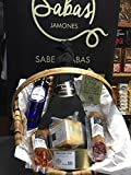 LOTE SABAS JAMONES 2017, paleta gran reserva, salchichón bellota, chorizo bellota, lata de lomo de atún, vino d.origen seco o semidulce