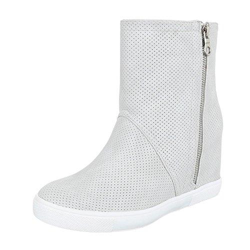 Ital-Design , chaussures compensées femme gris clair