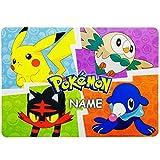alles-meine.de GmbH Unterlage - Pokémon Pikachu - inkl. Name - als Tischunterlage / Platzdeckchen / Malunterlage / Knetunterlage / Eßunterlage / Platzset / Platzmatte - 42 cm * 3..