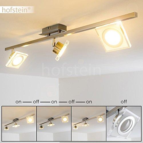LED Deckenspot Kolari 3-flammig aus Metall Nickel matt/Chrom – Verstellbare Zimmerlampe für Wohnzimmer – Schlafzimmer – Flur - kann mithilfe eines herkömmlichen Lichtschalters in 4 Helligkeitsstufen gedimmt werden