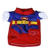 Weastion Cane Vestiti Divertenti Teddy Cane Piccolo Autunno e Inverno Cucciolo Gatto Divertente Abbigliamento Pet Trasformare Abiti Festivi Superman Rosso (Dimensione : M)