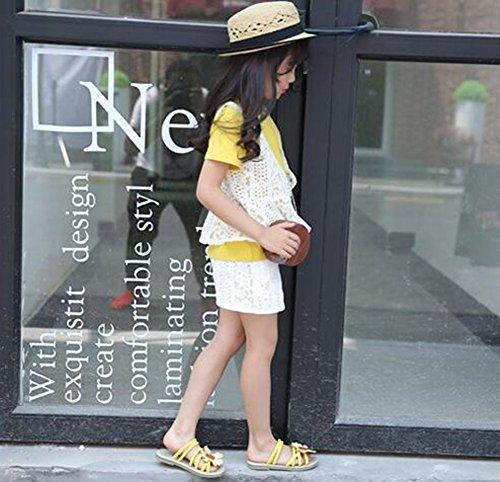 hibote Scarpe da sandalo delle ragazze I fiori delle principessa dei sandali di estate dei sandali di estate giallo
