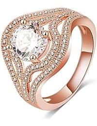 d07fe919fda1 Coniea Anillos Oro Rosa Chapado Anillo Mujer Diamante Anillo Redondo De  Circonita Blanca De Oro Rosa