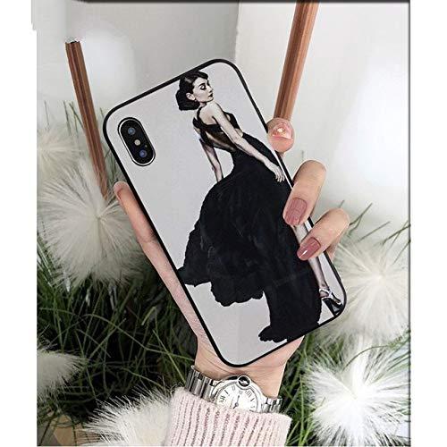 NJSdd Audrey Hepburn schwarz TPU weichen silikon Telefon case Abdeckung für iPhone 8 7 6 6s Plus 5 5s se xr xs max Coque Shell, a7, für iPhone xr