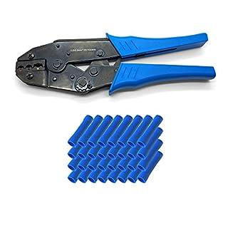 ARLI Crimpzange + 50x Stoßverbinder Blau 1,5 - 2,5 mm Elektrische Steckverbinder Stoß StossVerbinder Quetschverbinder Stoss verbinder Zange Set kfz Auto Steckverbinder Rundverbinder Kabelschuhe
