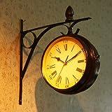 GAW Metal reloj doble cara ,Retro Reloj de pared decorativos